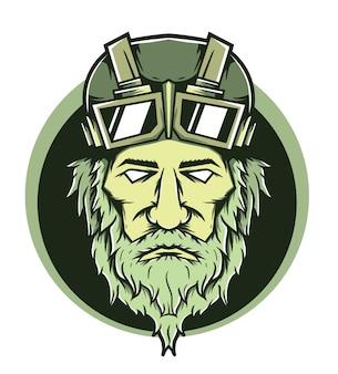 Illustration vectorielle de vieil homme tête cavalier casque