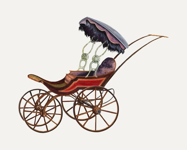 Illustration vectorielle vintage baby buggy, remixée à partir de l'œuvre d'einar heiberg.
