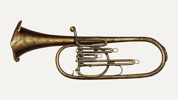 Illustration vectorielle vintage de corne de baryton, remixée à partir de l'œuvre d'edward l. loper