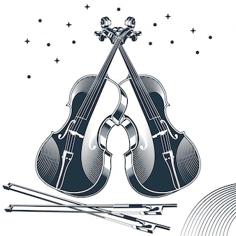 Illustration vectorielle vintage du violon classique