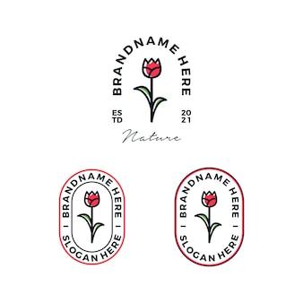 Illustration vectorielle de vintage fleurs rose logo design