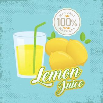 Illustration vectorielle vintage jus de citron frais