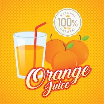Illustration vectorielle vintage jus d'orange frais