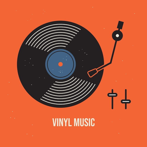 Illustration vectorielle de vinyle musique conception de fond de musique vintage pour invitation de carte