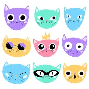 Illustration vectorielle de visages de chats de dessin animé mignon isolés