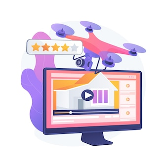Illustration vectorielle de visite vidéo de l'immobilier concept abstrait. marketing immobilier, vidéo de drone en streaming en ligne, tournage promotionnel, journée portes ouvertes, métaphore abstraite en plein mouvement.