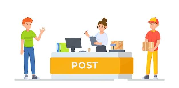 Illustration vectorielle visiter la poste concept de bureau de poste ramasser un colis au bureau de poste