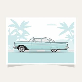 Illustration vectorielle de voiture bleue classique conceptuel design plat