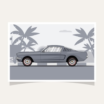 Illustration vectorielle de voiture classique design conceptuel plat illustration