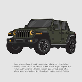 Illustration vectorielle d'une voiture de croisière verte