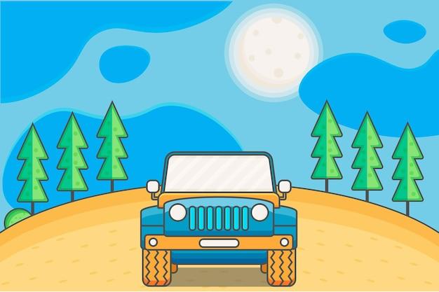 Illustration vectorielle voiture fond paysage briller soleil graphique