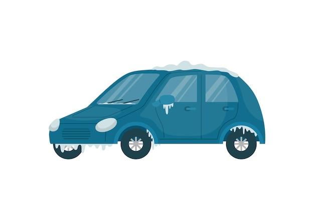 Illustration vectorielle d'une voiture gelée en hiver dans la rue.