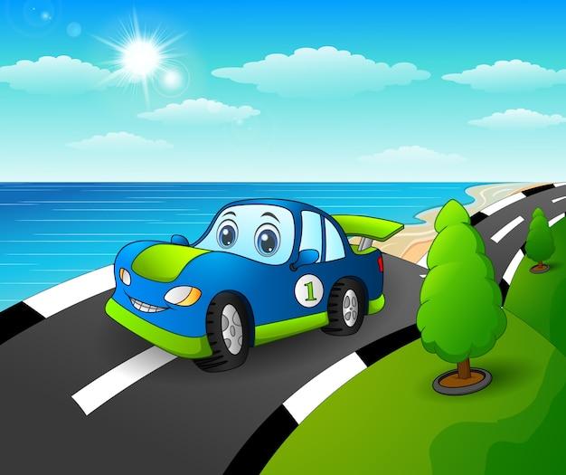 Illustration vectorielle de voiture de sport bleue dans la route côtière