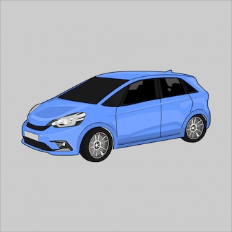 Illustration vectorielle voiture de ville honda jazz