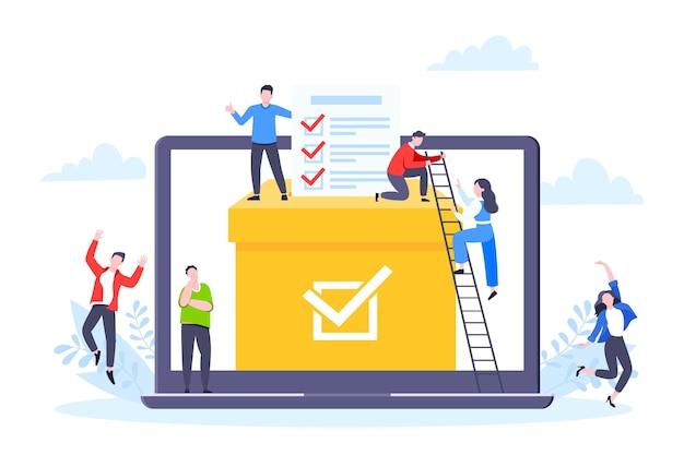 Illustration vectorielle de vote en ligne concept style plat design