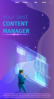 Illustration vectorielle votre meilleur gestionnaire de contenu.