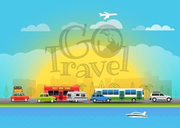 Illustration vectorielle de voyage. allez voyagez