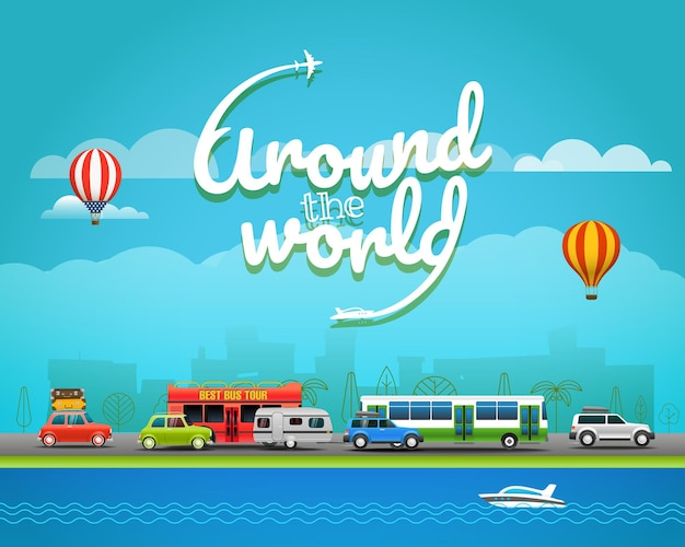 Illustration vectorielle de voyage. autour du concept du monde