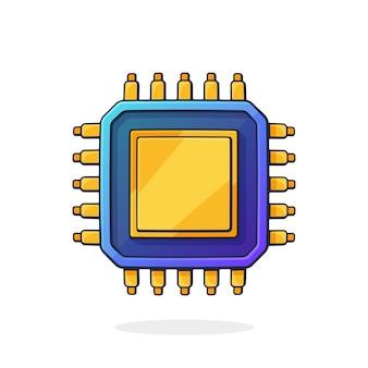Illustration vectorielle vue de dessus du circuit intégré électronique puce d'ordinateur ou nanoprocesseur
