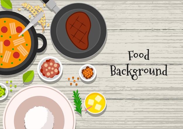 Illustration vectorielle vue de dessus du petit-déjeuner avec steak de soupe et limonade