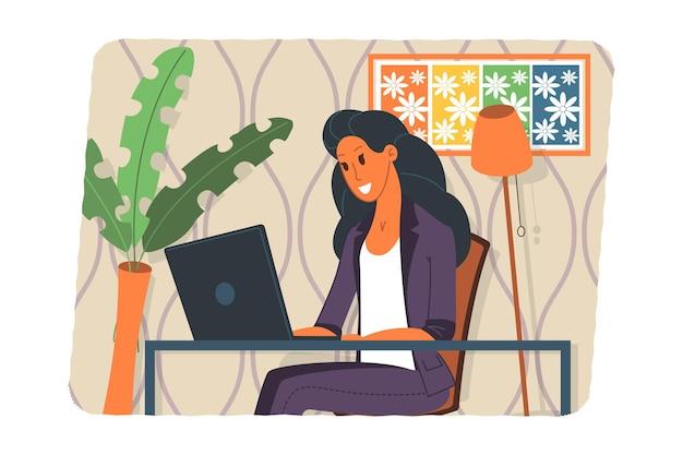 Illustration vectorielle de webinaire, concept de réunion en ligne, travail à domicile, design plat. visioconférence, télétravail, distanciation sociale, discussion d'entreprise. personnage parlant avec des collègues en ligne.