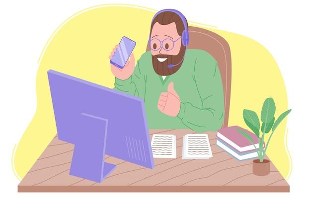 Illustration vectorielle de webinaire, réunion en ligne, travail à domicile, blogs. visioconférence, distanciation sociale, discussion d'entreprise. le personnage regarde un webinaire ou parle avec des collègues en ligne