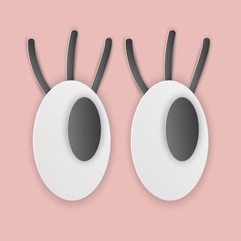 Illustration vectorielle, yeux drôles de dessin animé avec des cils dans un style papercut avec des ombres transparentes isolées sur fond rose