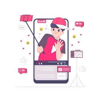 Illustration vectorielle de youtube contenu créateur concept