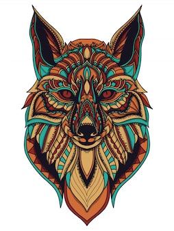 Illustration vectorielle de zentangle fox