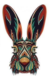 Illustration vectorielle zentangle lapin