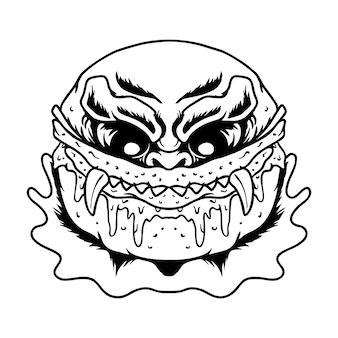 Illustration vectorielle de zombie effrayant burger premium