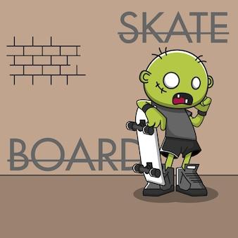 Illustration vectorielle de zombie skateboard