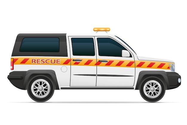 Illustration de véhicule de sauvetage sauveteur voiture isolé sur fond blanc