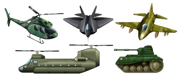 Illustration des véhicules de combat sur un fond blanc