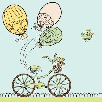 Illustration avec vélo, ballons et place pour votre texte.