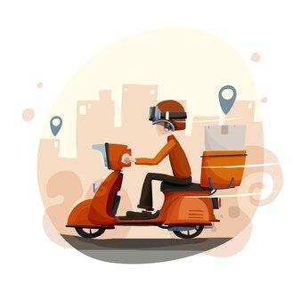 Illustration de vélo de livraison à la main