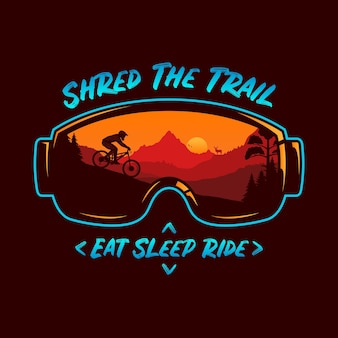 Illustration de vélo de montagne avec des montagnes cyclistes et une nature sauvage