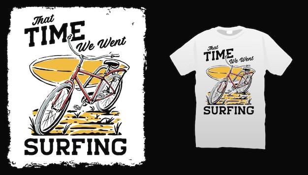 Illustration de vélo et planche de surf