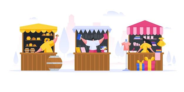 Illustration de vendeurs modernes debout derrière des étals
