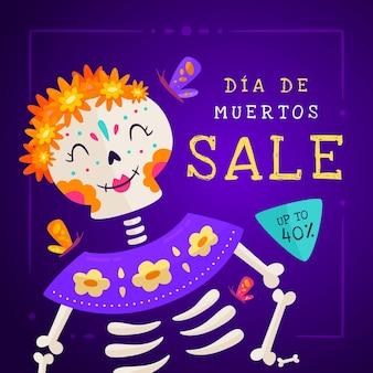 Illustration de vente dia de muertos plat dessiné à la main