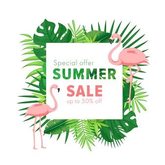 Illustration de vente d'été bannière de dessin animé avec feuille tropicale de palmier jungle et flamant rose