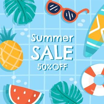 Illustration de vente d'été bonjour dessiné à la main