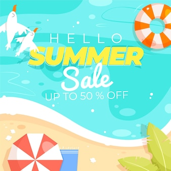 Illustration de vente d'été de dessin animé