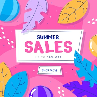 Illustration de vente d'été dessinés à la main