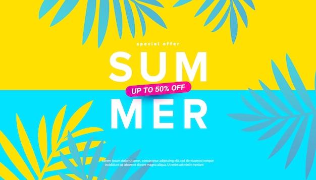 Illustration de vente d'été avec des feuilles tropicales