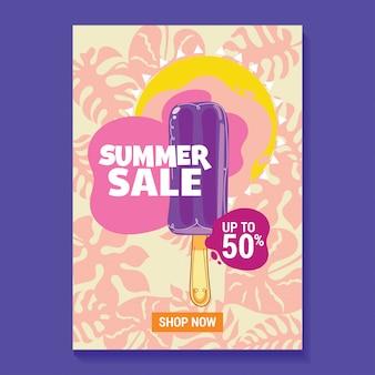 Illustration de vente d'été avec fond de popsicle, plage et feuilles tropicales