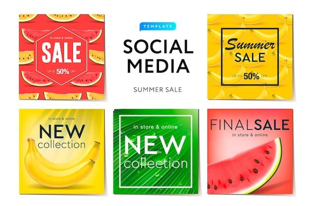 Illustration de vente d'été de kit d'interface utilisateur de médias sociaux