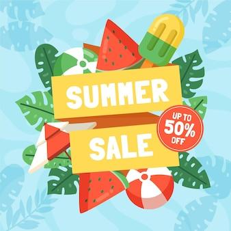 Illustration de vente d'été plat bio bonjour