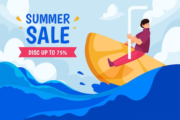 Illustration de vente d'été plat bio