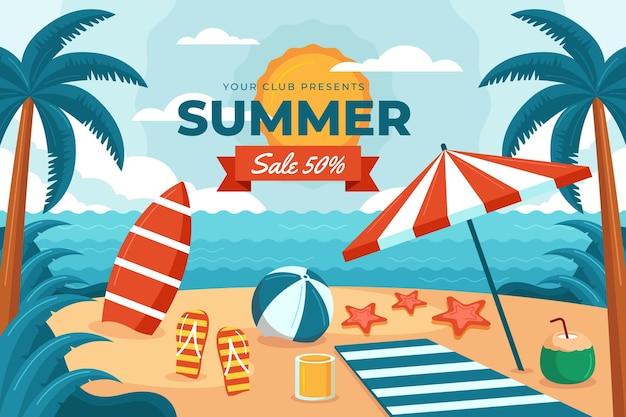 Illustration de vente d'été plat